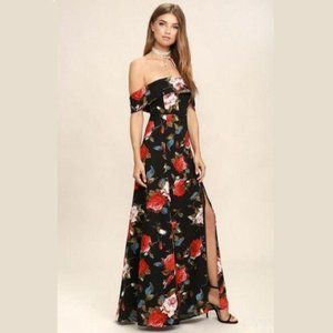 LULUS Sexy Floral Off the Shoulder Maxi Dress